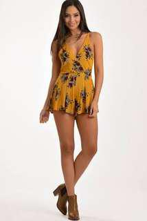Floral Mustard Playsuit Princess Polly BRAND NEW