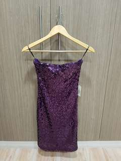 BNWT Forever 21 (F21) Purple Glittery Sequin Strapless Party Dress