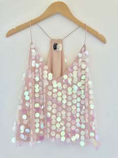 H&M Divided Small Pink Sequin Tank Top