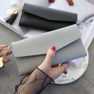 Tassel Leather Long Wallet Ladies Clutch With Coin Pouch