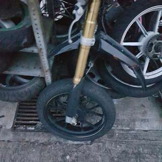 Reuji Front fork, rear arm, rims, tyres,etc shown on pic
