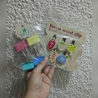 Wooden Clips + Jumbo Colored Paper Clips