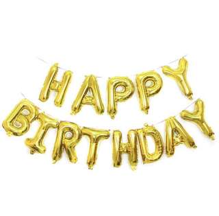 Happy birthday balloon banner/decoration (available in assorted colours)