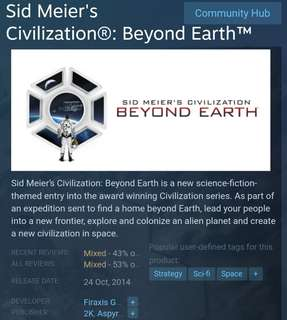 [Clearance Sale] Sid Meier's Civilisation: Beyond Earth - The Collection Game