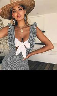 Backless Beach Dress Striped Backless