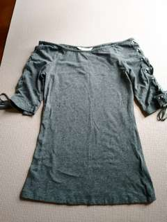 Grey Lace-up 3/4 Sleeves boat-neck top