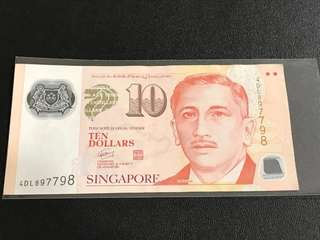 Portrait Series S$10 With Radar Number 897 798
