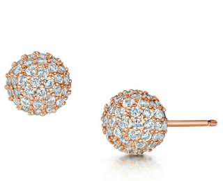 Infinity & co earrings rose gold snowballs BRAND NEW in box