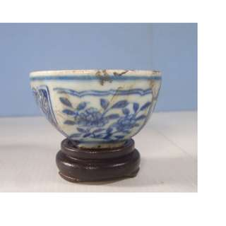 Vintage blue & white porcelain teacup retired age unknown antique condition