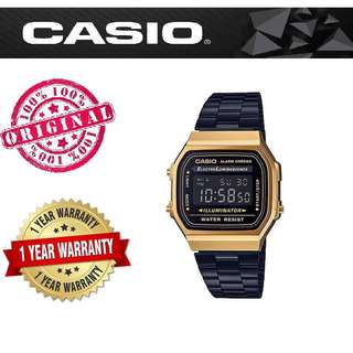 Casio A168WEGB-1B Unisex Gold with Black Stainless Strap Watch