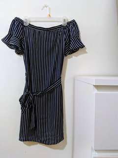 Guess Off Shoulder Striped Dress Medium
