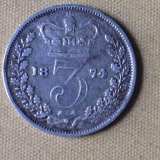 1874 GB 3 pence coin.