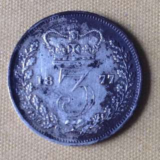 1877 GB 3 Pence coin.