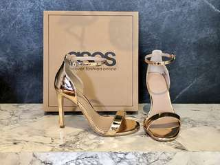ASOS Nude Metallic Barely There Heeled Sandals  UK size 2