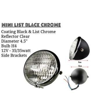 Motorbike/ Caferacer Headlight/ Lamp Mini List Black Chrome