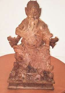 Guan gong wood timber carving statue