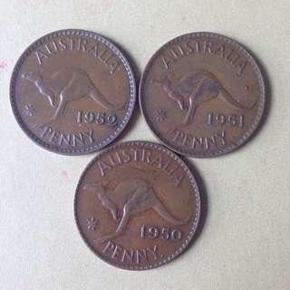 Australia KG VI Penny(1950,51 &52)
