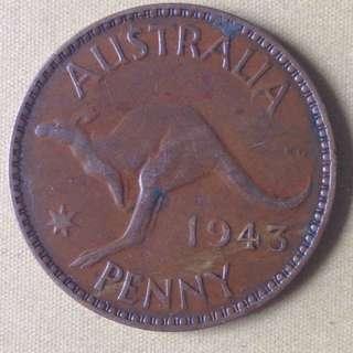 1943 Australia penny( w/o l) coin.