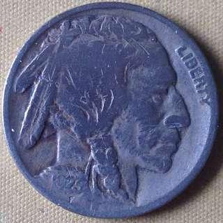 1923 USA Buffalo 5 cents coin.