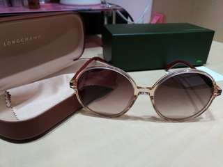 Longchamp咖啡金大圓框時尚太陽眼鏡