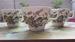 3 vintage Ridgway Staffordshire England tea cups ONLY