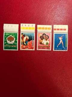 中國郵票-編號91-94 -亞非拉乒乓球友好邀請賽郵票一套