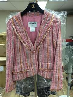 Chanel pink tweed jacket Sz 36
