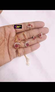 Bracelet, pendant, earrings & finger ring set