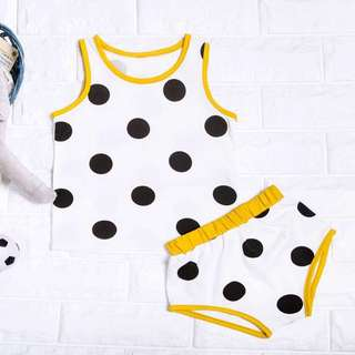 🚚 Instock - 2pc yellow polkadot Set, spring summer 2018 collection