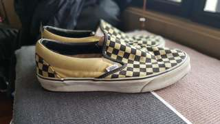 Authentic Vans yellow and black checkered slip ons