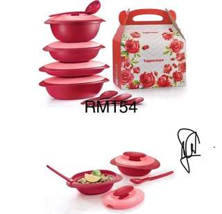 royal red serving Tupperware