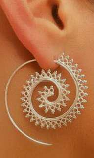 Boho spiral earrings silver - new