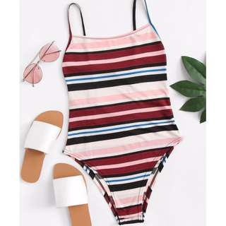 Knot Back Striped Bodysuit