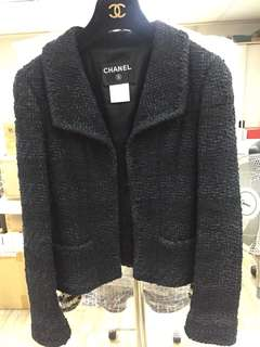 Chanel black tweed jacket Sz 36