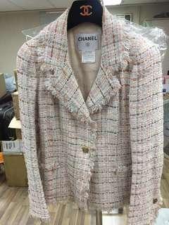 Chanel tweed logo jacket Sz 36