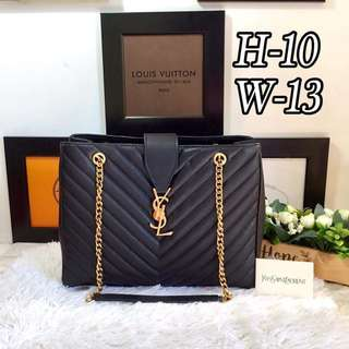 YSL Saint Laurent Large Monogram Shopper Bag in Black GHW
