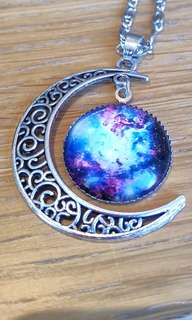 Boho moon silver pendant necklace