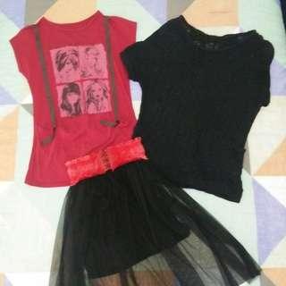 Promo preloved! Rok Tutu, Kaos Hipster Manga, Sweater Hitam Pita