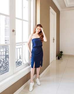 Navy Slit Dress