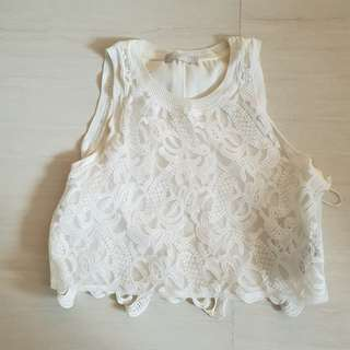 Zara lace cropped top in broken white