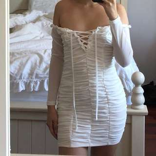 white ruched off the shoulder dress