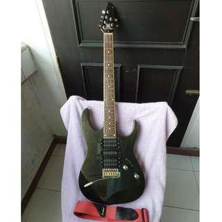 Used working SX Superstrat type dark metallic green electric guitar