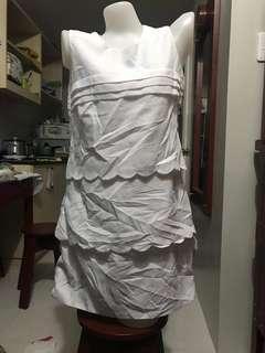 White layered scalloped dress