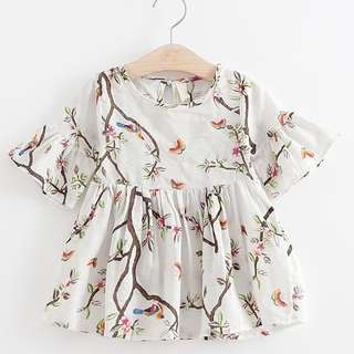Birds and Branches Printed Dress
