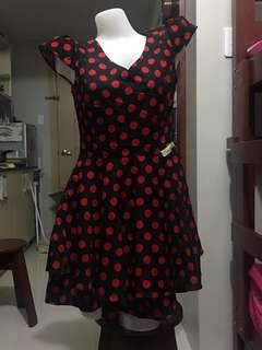Korean inspired polkadot dress in red