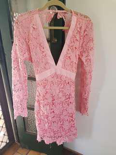 Lace pink floral dress
