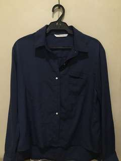 Thrifted Giordano Navy Blue Long-Sleeved Polo