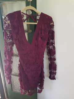 Burgundy lace floral dress