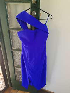 Cobalt blue shoulder strap dress / strapless.