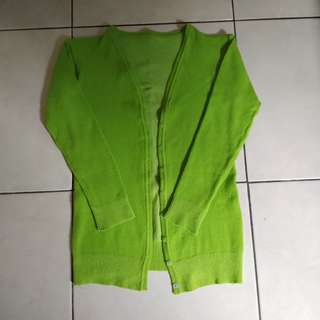Cardigan hijau tebal